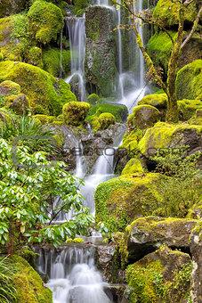 Waterfall at Japanese Garden in Spring
