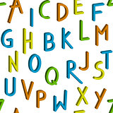Seamless childrens bright alphabet pattern.