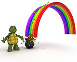 turtle with pot of gold at the end of the rainbow