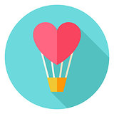 Air Balloon with Heart Circle Icon