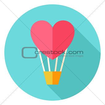 Air Balloon with Heart Circle Icon