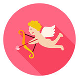 Amour Cupid Boy with Bow and Love Arrow Circle Icon