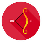 Archery Bow with Arrow Circle Icon