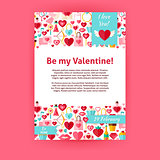 Be my Valentine Holiday Vector Invitation Template Flyer