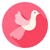 Cute Wedding Dove Circle Icon