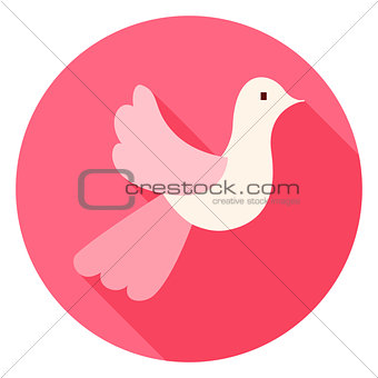 Cute Wedding Dove Circle Icon