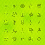 Ecology Environment Line Icons Set over Polygonal Background