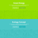 Ecology Green Energy Line Art Web Banners Set