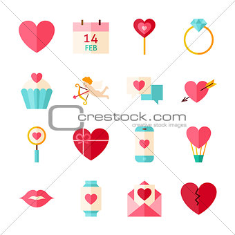 Flat Happy Valentine Day Objects Set isolated over White
