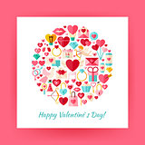 Flat Style Circle Vector Set of Happy Valentine Day Objects over