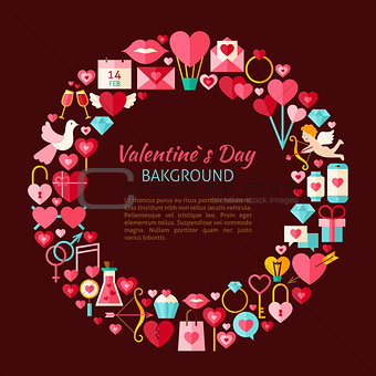 Flat Style Vector Circle Template Collection of Valentine Day Ob