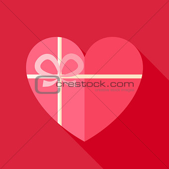 Flat Valentine Day Heart Shaped Gift with Bow Icon