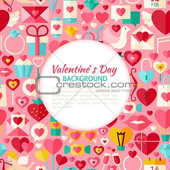 Flat Valentine Day Vector Pattern Background