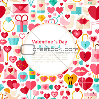Flat Valentines Day Vector Background