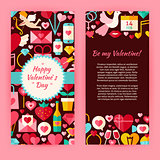 Flyer Template of Flat Happy Valentine Day Objects and Elements