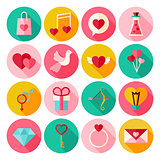 Happy Valentine Day Circle Icons Set with long Shadow
