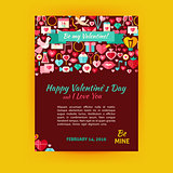 Happy Valentine Day Holiday Vector Template Banner Flyer Modern