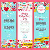 Happy Valentine Day Invitation Vector Template Flyer Set