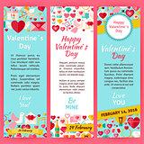 Happy Valentine Day Invitation Vector Template Flyer Set
