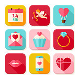 Happy Valentine Day Square App Icons Set