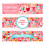 Happy Valentine Day Vector Template Banners Set Modern Flat