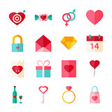 Happy Valentines Day Flat Objects Set isolated over White