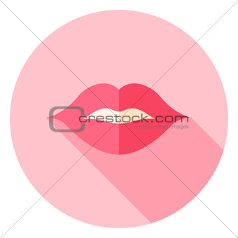 Kiss Sexy Lips Circle Icon