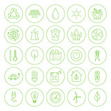 Line Circle Go Green Environment Icons Set