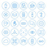 Line Circle Virtual Reality Icons Set