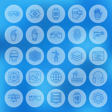 Line Circle Web Virtual Reality Icons Set