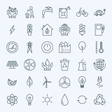 Line Green Energy Eco Icons Set
