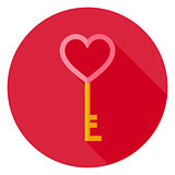 Love Key with Heart Circle Icon