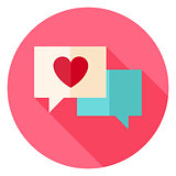 Love Messages with Heart Circle Icon
