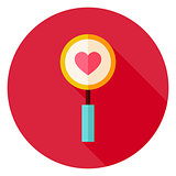 Love Search Magnifying Glass with Heart Circle Icon