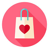 Love Shopping Bag with Heart Circle Icon