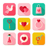 Love Valentine Day Square App Icons Set