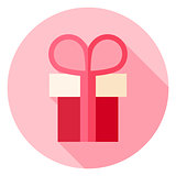 Present Box Circle Icon with long Shadow
