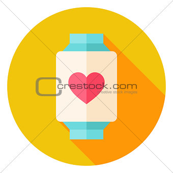 Smart Watch with Love Heart Sign Circle Icon
