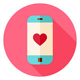 Smartphone with Love Heart Sign Circle Icon