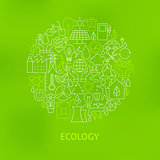 Thin Line Eco Green Power Icons Set Circle Concept