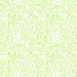 Thin Line Go Green Ecology White Seamless Pattern