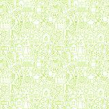 Thin Line Go Green Ecology White Seamless Pattern