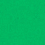 Thin Line Green Power Eco Seamless Pattern