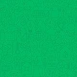 Thin Line Green Power Eco Seamless Pattern