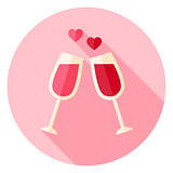 Two Glasses with Wine Circle Icon