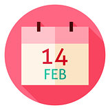 Valentine Day Calendar Date Circle Icon