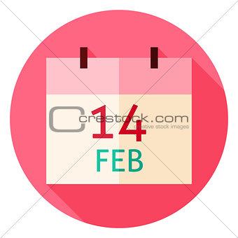 Valentine Day Calendar Date Circle Icon
