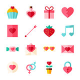 Valentine Day Flat Objects Set isolated over White