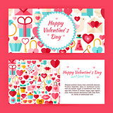 Valentine Day Flat Style Vector Template Banners Set