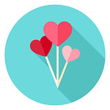 Valentine Day Heart Shaped Balloons Circle Icon